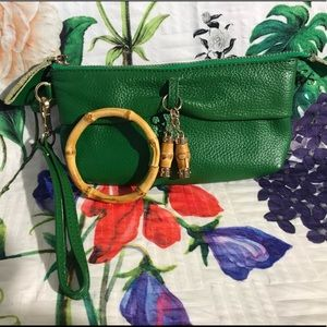 Green leather wristlet with bamboo bangle🎋bundle